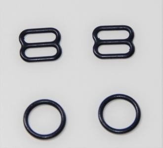 Комплект металл 10 мм Темно синий (кольцо 2 шт + регулятор 2 шт)